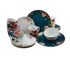 Creatable 22222 Enjoy Roses-Petrol + Weiss - Vajilla de 16 piezas (porcelana), color blanco y rosa