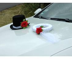Velo y Sombrero Auto Joyas Novios decoración de Rosas Decoración Auto Joyas Boda Car Auto Wedding Deko Coches (Rojo)
