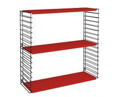 Metaltex - Estantería modular, metal, 3 estantes, 70 x 21 x 68 cm, color rojo