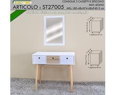 Siro Time Consola, Espejo, Color Blanco y Madera, única
