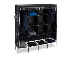 Relaxdays 10020500_46 armario plegable, 12 estantes, Barra para prendas de ropa, 43 x 167 x 181 cm, Negro
