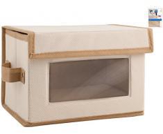 Home caja de almacenamiento, 28 x 21 x 20 cm, tela, transparente/Crudo