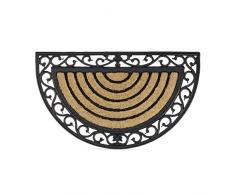 Relaxdays – Felpudo semicircular decorativo para la entrada del hogar, 2 x 75 x 45 cm, Fibra de coco y PVC, antideslizante, Color marrón