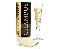 Ritzenhoff Champus Copa de cava, 200 milliliters, Cristal, Gold, Platin, Schwarz