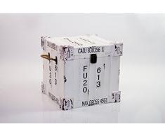B&P Italia S/2 Juego de 2 baúles Decorativos Cuadrados, revistero, MDF, Blanco, Talla única