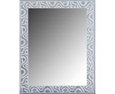 Lienzos Levante Espejo Decorativo Baño/Recibidor, Madera, Blanco y Plata, 96 x 75 cm