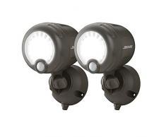 Mr. Beams Lámpara con sensor de movimiento activado MB360XT BRN 02 01, inalámbrica, funciona con pilas, para exteriores, LED de 200lúmenes, plástico, marrón, juego de 2, plástico, marrón, Pack de 2