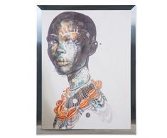 Belssia Cuadro con Diseñó Africana Marco, Acero Inoxidable, Multicolor, 82x1.3x107 cm