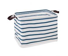InterDesign Riley Caja de Tela con Asas, Cesta organizadora en Tela y Cuero Artificial para Juguetes o frazadas, Azul/Blanco