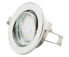 Reflector de techo LED de Levivo, blanco cálido, con 12 LED SMD y 125 lúmenes, reflector empotrado orientable, para como lámpara de techo de bajo consumo; set con casquillo GU10 y lámpara LED
