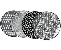 Ritzenhoff & Breker Plato de Postre, Porcelana, Color Blanco y Negro, 22 x 22 x 2 cm, 4 Piezas
