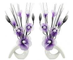 Flourish Mini Swirl 794392 - Par de jarrones con flores artificiales, 32 cm, vidrio, White/Purple & White, 10 x 10 x 32 cm