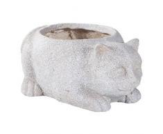 Creaciones Meng Macetero Gato de Cemento con Agujero, Arcilla de Fibra, Beige, 40x31x18 cm