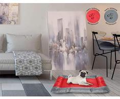 Sogni e capricci Tapete Totalmente Impermeable para Perros y Gatos, Rojo, 80x65cm, poliéster