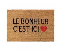 Douceur d Intérieur - Felpudo de fibra de coco con texto en francés Le bonheur cest ici de PVC de 60 x 40 cm.