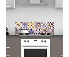 Ambiance-Live 12Pegatinas Adhesivos carrelages | Adhesivo Adhesivo Azulejos–Mosaico Azulejos de Pared de baño y Cocina | Azulejos Adhesivo–Vintage Azules y Naranjas–10x 10cm–12Piezas