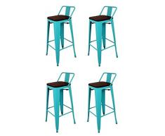 La Silla Española - Pack 4 Taburetes estilo Tolix con respaldo y asiento acabado en madera. Color Turquesa. Medidas 95x43x43