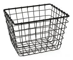 Gelco Design Fab Cesta de almacenaje con Cable, Metal, Negro, 18 x 22 x 16,5 cm