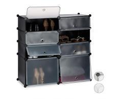 Relaxdays Zapatero Bajo Modular con 8 Compartimentos, Negro, 91 X 94.5 X 36.5 Cm