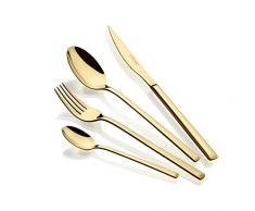 Monix Verona Gold - Set de cubiertos de 24 piezas, acero inoxidable 18/10, diseño vanguardista y moderno,acabado pulido brillante dorado, espesor 3 mm (6 comensales)