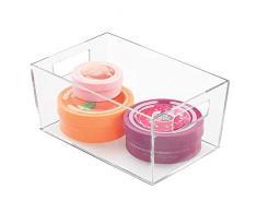 iDesign Clarity Cesto Organizador, pequeña Caja de almacenaje con Asas de plástico para organizar cosméticos y Maquillaje en el Lavabo, Transparente, 22.9 Cm X 15.2 Cm X 10.4 Cm