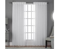 Home Exclusive Exclusiva casa Belga con Textura (Aspecto de Lino Jacquard Sheer Cortina de Ventana Panel par con Pinch Pleat Top, poliéster, Invierno Blanco, 84x 50x 0,2cm)