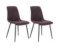 Woltu Juego de 2 sillas de Comedor Cocina Sillas Salón Silla Silla (Diseño Silla Funda de Tela (Aspecto de Piel Antiguo) Estructura de Acero Color marrón Oscuro bh06dbr de 2