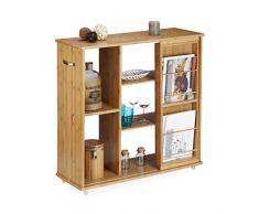 Relaxdays Carrito de server de bambú, con ruedas, 5 compartimentos, HxWxD: 85 x 90 x 31 cm, revistero, unidad de estantería (madera de bambú, asa, madera, Natural marrón, bambú