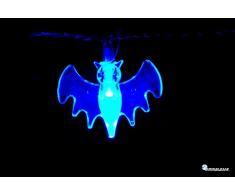 Cadena lumninosa luces LED OmniaLaser (marca italiana) a pilas para uso interno y con interruptor on/off Azul Murciélago Bat Halloween Party Fiesta (ol-ledbat)