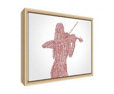 Feel Good Arte Moderno y Lienzo Decorativo con Marco de Madera Natural, en Quirky Cuadro Hembra Reproductor de violín diseño 64x 44x 3cm (Grande) Tonos, Madera, Rojo, 44x 34x 3cm