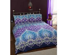 Asha Mujer india Diseño, funda de edredón y 2 funda de almohada ropa de cama juego de cama, azul/morado