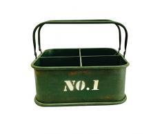 Pide X esa Boca Cubeta Nº1 Caja Organizadora con Asas, Metal, Verde, 27x28x13 cm