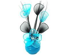 A juego Par de azul flores artificiales en florero negro, decoraciones de mesa, accesorios para el hogar, regalos, adornos, vidrio, Light Teal Blue in Teal Vase, 11.5 x 11 x 32 cm