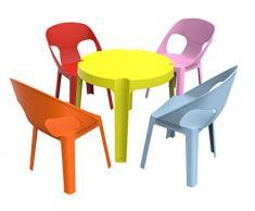 Resol Rita Set Infantil de 4 Sillas y 1 Mesa, Plástico y Polipropileno, 1 Mesa Lima + 4 Sillas Roja/Rosa/Azul/Naranja, 60x51x78 cm, 5 Unidades