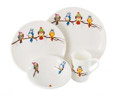 La Cija Pájaros Frioleros - Vajilla Infantil de Porcelana Reforzada, Color Blanco