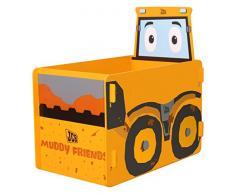 Kidsaw JCB Barro Amigos Caja de Juguetes, Madera, Amarillo, 39 x 59 x 59 cm