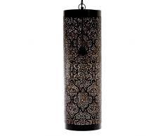 Emporio artes Emporio luces marroquí hecho a mano marroquí lámpara colgante tubo en tikoni grabado, hierro, interior dorado, negro, E27, 40 W