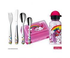 WMF Unicornio - Vajilla para niños 6 piezas, incluye fiambrera, cantimplora y cubertería (tenedor, cuchillo de mesa, cuchara y cuchara pequeña) Kids infantil
