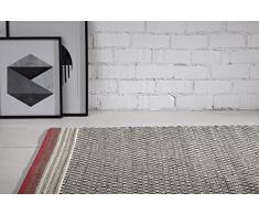 Creative carpets Alfombra de Diseño Geométrico, Lana, Blanco y Negro, 80 x 120