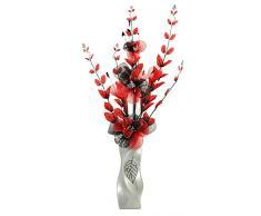 Flourish 724504 E13 - Florero con flor artificial de color rojo y negro, color rojo/negro, 80 cm, grande