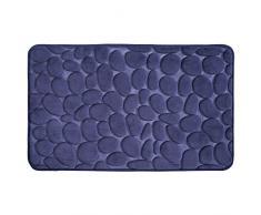 InterDesign Basic Tapete de baño, alfombra antideslizante de plástico para la bañera y la ducha, azul marino