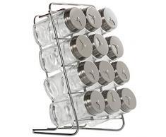 DRW Set de 12 especieros de Cristal y Acero Inoxidable con Soporte de Metal 14 x 15 x 22 cm Botes 4 x 9.5 cm