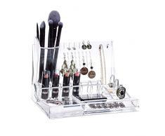 Relaxdays Organizador de Maquillaje, Joyero, Acrílico, Transparente, Fibra, estándar
