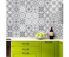 Autoadhesivo de imitación de Azulejos para Cocina y baño, en Tonos Grises, 10x 10cm, 60Unidades