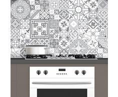 60pegatinas adhesivos carrelages | adhesivo adhesivo azulejos-Mosaico Azulejos de pared de baño y cocina | azulejos adhesiva-Design Vintage de sombras de gris-10x 10cm-60piezas