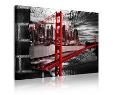 DekoArte 334 - Cuadro moderno en lienzo 1 piezas ciudad San Francisco puente Golden Gate, 120x3x80cm