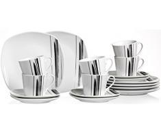 Ritzenhoff & Breker Kaffeeservice Nero, 18-Teilig Vajilla, Porcelana, weiß mit Schwarzen linien, 26 x 21 x 22 cm, Unidades