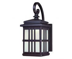 Westinghouse 64002 Lámpara de Pared para Exteriores con LED Regulable, Acabado en Bronce aceitado con Cristal Esmerilado, 9 W