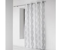 Douceur dIntérieur – Cortina con Ojales de poliéster 140 x 260cm, cerámica, Blanco, 140x1x260 cm