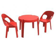 resol Rita Set Infantil de 2 Sillas y 1 Mesa, Plástico y Polipropileno, Rojo, 60x51x78 cm, 3 Unidades
